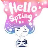 Hello-de lente, dromend gekleurd meisje, Stock Afbeelding
