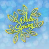 Hello-de Lente De groene gestileerde inschrijving verfraaide met gebladerte tegen de hemel met een bokeheffect De lentemalplaatje Royalty-vrije Stock Fotografie