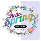 Hello-de lente op een blauwe achtergrond met een mooie bloemkroon Vector graphhics royalty-vrije illustratie