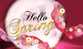 Hello-de Lente, rode achtergrond met mooie bloemen Vectorillustratie - Beelden vectorielles vector illustratie