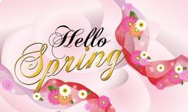 Hello-de Lente, roze achtergrond met mooie bloemen Vectorillustratie - Beelden vectorielles vector illustratie