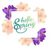 Hello-de lente vectoraffiche met bloemen Stock Foto's