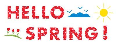 Hello-de Lente Zon, harten, bloemen, wolken Stock Afbeeldingen