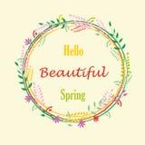 Hello-de lenteachtergrond met bloemen Kader royalty-vrije illustratie