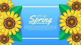 Hello-de Lenteachtergrond met de bloesem van de schoonheidsbloem stock illustratie