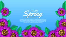 Hello-de Lenteachtergrond met de bloesem van de schoonheidsbloem vector illustratie