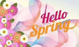 Hello-de Lenteachtergrond met mooie bloem Kan voor malplaatje, banners, behang, vliegers, uitnodiging, affiches, brochure worden  royalty-vrije illustratie