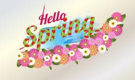 Hello-de Lenteachtergrond met mooie bloem Vectorillustratie - Beelden vectorielles vector illustratie
