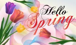 Hello-de Lenteachtergrond met mooie tulpen Kan voor malplaatje, banners, behang, vliegers, uitnodiging, affiches, brochure worden royalty-vrije illustratie