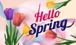 Hello-de Lenteachtergrond met mooie tulpen Vectorillustratie - Beelden vectorielles stock illustratie