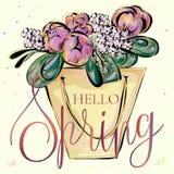 Hello-de lentebanner met mooi bloemboeket, luxehand getrokken vectorillustratie clipart Stock Fotografie