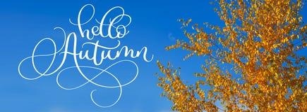 Hello-de van letters voorziende tekst van de de Herfstkalligrafie op Gele bladeren op de herfstbomen tegen de blauwe hemel Royalty-vrije Stock Afbeelding