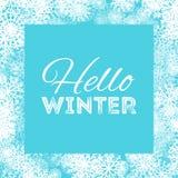 Hello-de winter abstract ontwerp als achtergrond met sneeuwvlokken en sneeuw stock illustratie