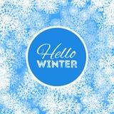 Hello-de winter abstract ontwerp als achtergrond met sneeuwvlokken en sneeuw vector illustratie