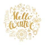 Hello-de winter het handlettering met Kerstmiselementen Wintertijdkaart, het begroeten stock illustratie