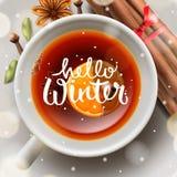 Hello-de winter, Kerstmisthee met kruiden vector illustratie