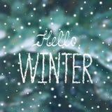 ` Hello-de winter` sneeuwaffiche in het van letters voorzien stijl Royalty-vrije Stock Afbeelding