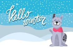 Hello-de Winteraffiche met Bevlekt Grey Dog Collar Royalty-vrije Stock Foto