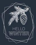 Hello-de winterkaart Achtergrond met pijnboomtakken, kegel en kader Royalty-vrije Stock Fotografie