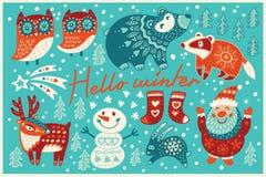Hello-de winterkaart in beeldverhaalstijl stock illustratie