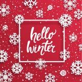 Hello-de winterkaart met sneeuwvlokken Stock Fotografie