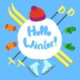 Hello-de wintertekst Stock Foto