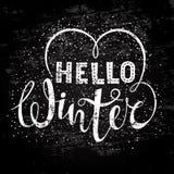 Hello-de wintertekst het van letters voorzien met hartelement Seizoengebonden het winkelen concept om banners, prijs of etiket te vector illustratie