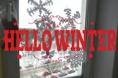Hello-de wintertekst lettering kaartontwerp met douanekalligrafie Royalty-vrije Stock Afbeelding