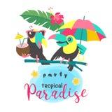 Hello-de zomer aloha Leuke grappige beeldverhaaltoekan Tropische paradis Stock Afbeelding