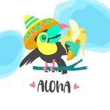 Hello-de zomer aloha Leuke grappige beeldverhaaltoekan Tropische paradis Royalty-vrije Stock Foto's