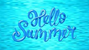Hello-de zomer Blauw water, overzeese golven cyaanachtergrond met het van letters voorzien Vector illustratie horizontaal stock illustratie