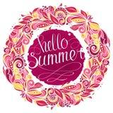 Hello-de zomer bloemenkroon royalty-vrije illustratie