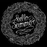 Hello-de zomer bloemenkroon stock illustratie