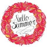 Hello-de zomer bloemenkroon vector illustratie