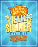 Hello-de zomer, de nieuwe affiche van de zomerinzamelingen Stock Afbeeldingen