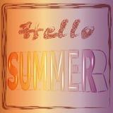 Hello-de zomer - dright het gekleurde van letters voorzien Realistische 3d affiche Stock Foto's