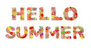 Hello, de zomer! Druk met bloemen en vruchten Stock Foto
