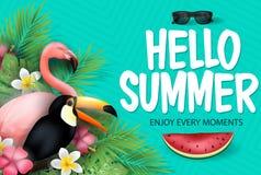 Hello-de Zomer geniet van Elk Ogenblikkenbericht met Watermeloen voor Zomer in Gevormd Teal Background vector illustratie
