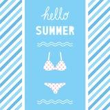 Hello-de zomer het greetiing met bikini Stock Fotografie