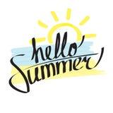 Hello-de zomer het van letters voorzien Stock Foto