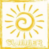 Hello-de zomer het van letters voorzien samenstelling Inspirational citaat met hand-drawn artistieke brieven Vector Illustratie