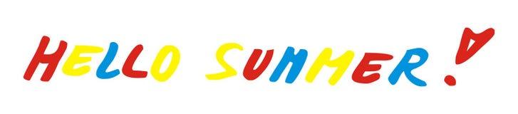 Hello-de zomer, het van letters voorzien, vectorpictogram Concept Geïsoleerd Voorwerp Royalty-vrije Stock Fotografie