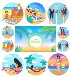 Hello-de Zomer van 2017 Affiche Vastgestelde Vectorillustratie Royalty-vrije Stock Afbeeldingen
