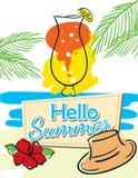 Hello-de zomer vectoraffiche Royalty-vrije Stock Afbeelding