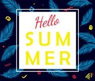 Hello-de zomer vectoraffiche met palmbladen Stock Fotografie