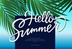 Hello-de Zomer - vectorpamfletmalplaatje met borstel het van letters voorzien Stock Foto's