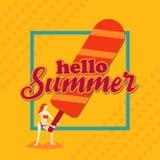 Hello-de zomer, Vrouw met Roomijs en grens, Oranje toonontwerp Stock Foto's