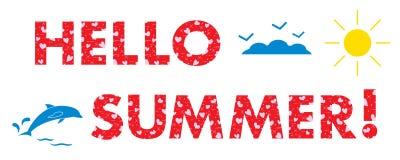 Hello-de zomer Zon, harten, dolfijn Stock Afbeelding