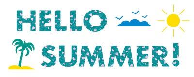 Hello-de zomer Zon, harten, palm Stock Fotografie