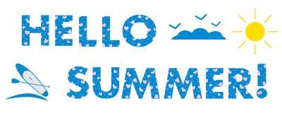 Hello-de zomer Zon, harten, SUP raad Stock Foto's